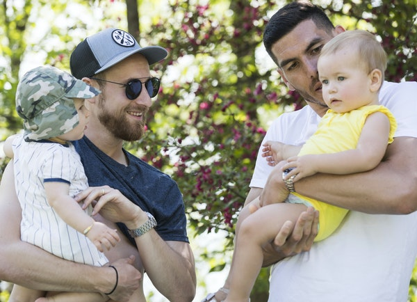 Minnesota United player Jerome Thiesson, left, and his 9-month-old son, Jago, met up with Loons teammate Michael Boxall and his 16-month-old daughter,