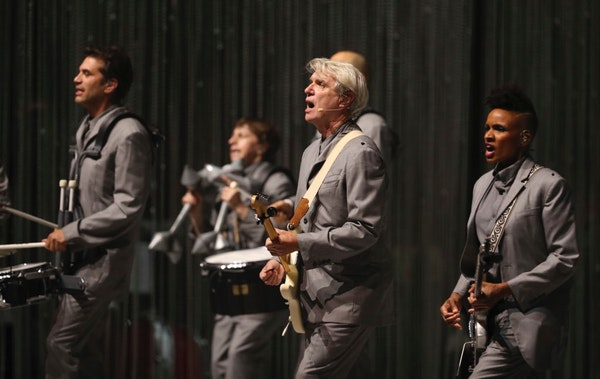 David Byrne and his band Thursday night at the Orpheum in Minneapolis.