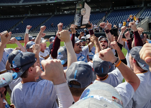 The Gophers baseball team celebrated with the Big Ten trophy following their 6-4 victory over Purdue in Omaha, Neb., on Sunday. Minnesota (41-13) will