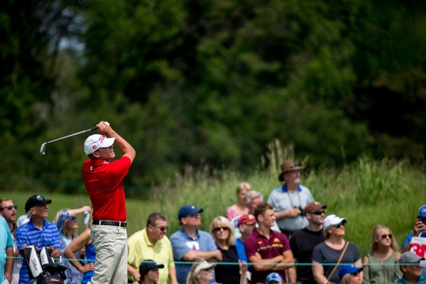 Steve Stricker tees off on the 13th hole during round two of the 3M Championship at TPC Twin Cities last year.