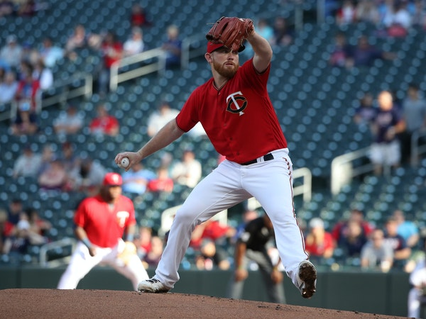 Twins starting pitcher Zach Littell threw a pitch in the first inning at Target Field June 5, 2018 in Minneapolis , MN. ] The Minnesota Twins played t