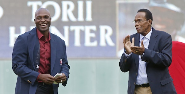 Torii Hunter, left, was the Twins' top draft pick in 1993 as a high schooler from Pine Bluff, Ark. Last summer, Hunter joined Rod Carew, right, in t