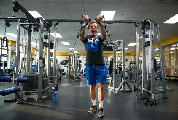 St. Michael-Albertville junior Joey Bennett worked out in his school's fitness center Wednesday. The new workout facility is a benefit to Bennett, a