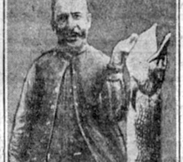 This photo has been said to depict J.V. Schanken, then of Chicago, with the record Minnesota northern pike, weighing 45 pounds, 12 ounces.