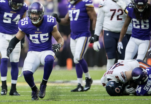 Anthony Barr (55) celebrated after a defensive stop last season.