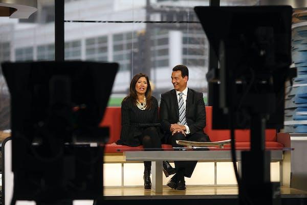 Frank Vascellaro and Amelia Santaniello talked on the set during the 5 p.m newscast at WCCO.
