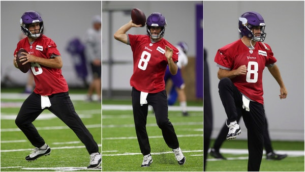 Kirk Cousins went through workouts with his new teammates at the Vikings' practice facility on Wednesday.