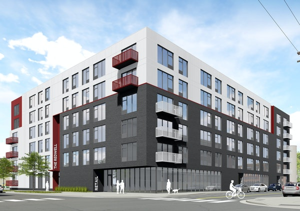 A rendering shows the proposed Redwell apartments.