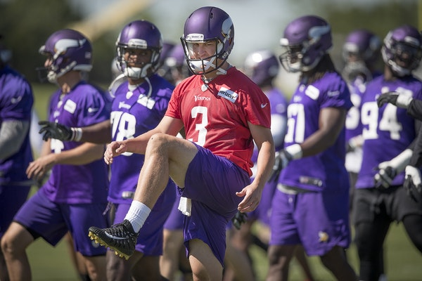 Vikings quarterback Trevor Siemian stretched before a mandatory Vikings three-day minicamp at the TCO Performance Center, June 13, 2018 in Eagan, MN.