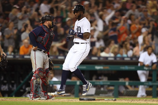 The Tigers' Niko Goodrum scored on a single by Victor Reyes during a four-run rally in the eighth inning of Detroit's 5-2 victory over the Twins on We