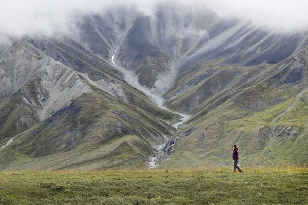 Ruby Tam took a short walk on a bluff trail at Eielson Visitor Center. Located at Mile 66 of Denali Park Road, the center offers a spectacular view of