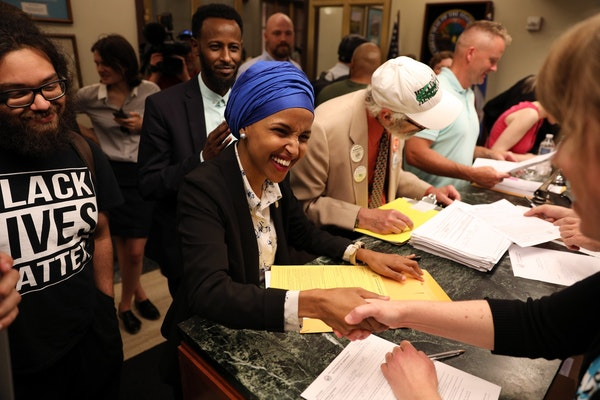 State Rep. Ilhan Omar, shown filing to run for the congressional seat that Rep. Keith Ellison is leaving, got backing from Gov. Mark Dayton on Friday.