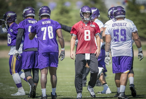 Vikings quarterback Kirk Cousins took to the field for practice at the TCO Performance Center, Tuesday, June 5, 2018 in Eagan, MN.
