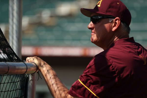 Gophers baseball head coach John Anderson watched his players during batting practice at Siebert Field.