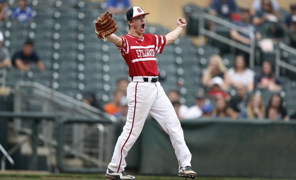 Stillwater pitcher Andrew Gilbert celebrated his complete game and a 4-0 win over Minnetonka during class 4A baseball championship game at Target Fiel