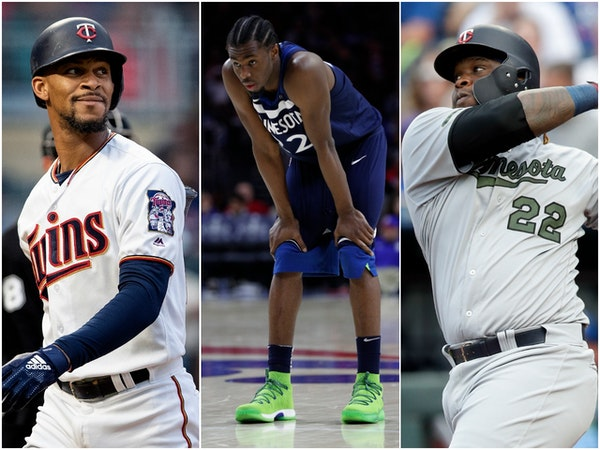 Byron Buxton (left to right), Andrew Wiggins and Miguel Sano