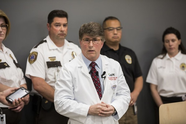Dr. William Heegaard, Hennepin Healthcare's chief medical officer, spoke about ketamine sedation by EMS workers in police-related situations on Friday