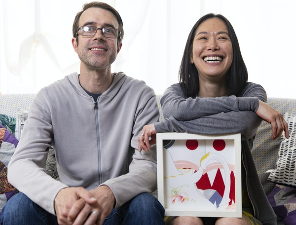 """Aaron Merrill and Masami Kawazato seek out work by local artists, such as """"Untitled"""" by Andrea Carlson, for their condo in Uptown."""