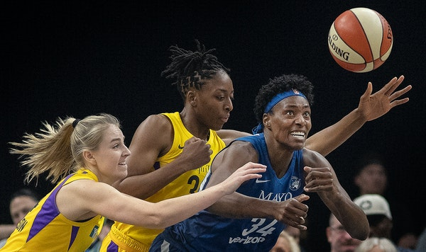 Lynx center Sylvia Fowles faced a double-team by the Los Angeles Sparks in a May 20 game at Target Center. The Lynx, with their core players another y