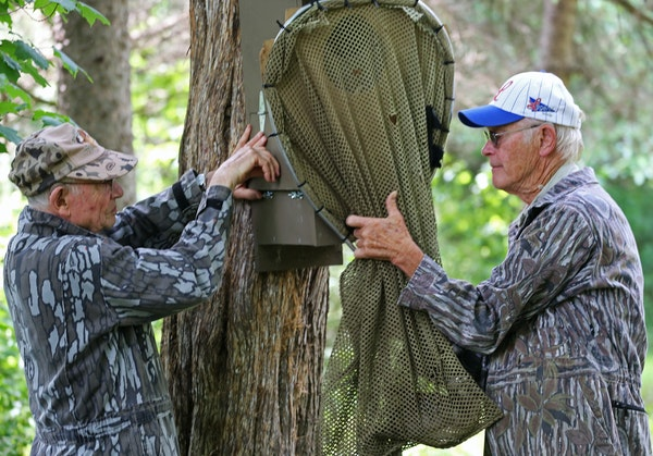 Arnold Krueger, left, and Larry Thomforde teamed up to send a hen wood duck scurrying from her nesting box into a waiting net. The wood duck was then
