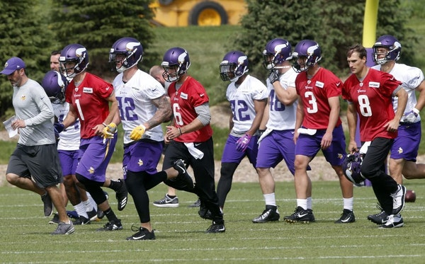 Vikings players worked out at minicamp earlier this month in Eagan.