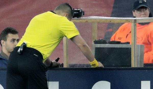 Play ground to a halt — and many soccer fans likely ran out of patience — when referee Jose Carlos Rivero watched a replay of a penalty kick call
