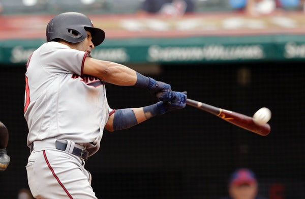 Minnesota Twins' Eddie Rosario collected a solo home run off Adam Plutko in the eighth inning Saturday.