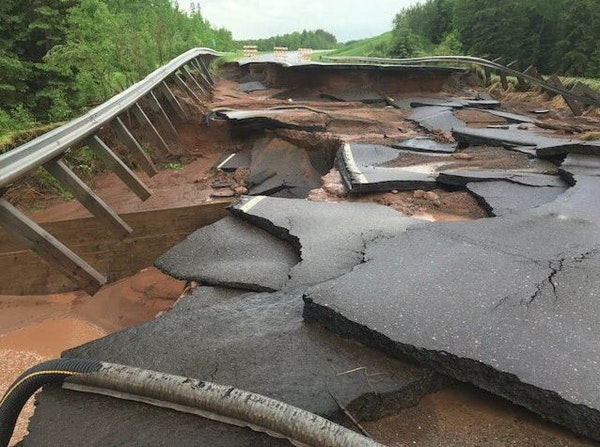Hwy. 23 in Carlton County in northeastern Minnesota was washed out by heavy weekend rains.
