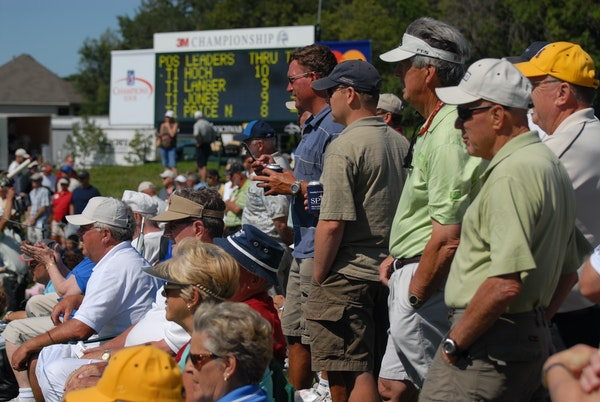 The 3M Open will be played at the TPC Twin Cities course in Blaine starting next year. Fans gathered at the ninth green to watch the event when it was