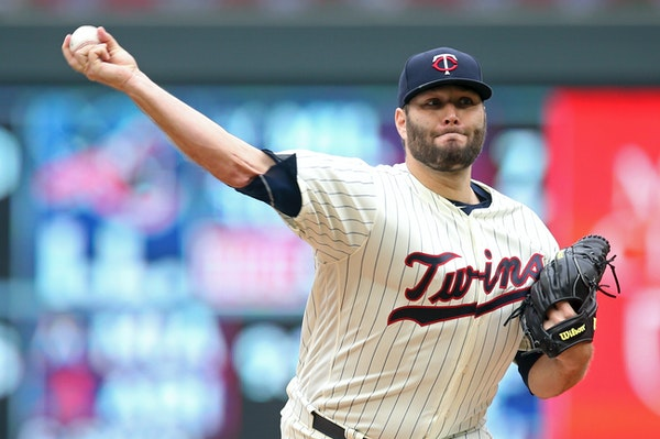 Minnesota Twins pitcher Lance Lynn threw against the Indians in the first inning