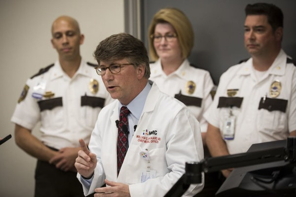 Dr. William Heegaard, Hennepin Healthcare's chief medical officer, spoke Friday about ketamine sedation by EMS workers in police-related situations.