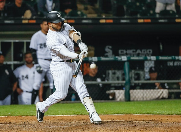 Chicago White Sox's Yolmer Sanchez hit a two-run single off the Twins' Taylor Rogers during the sixth inning