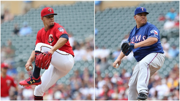 Jose Berrios gave up only three hits and struck out a career-high 12 batters to outpitch 45-year-old Bartolo Colon on Sunday at target Field.