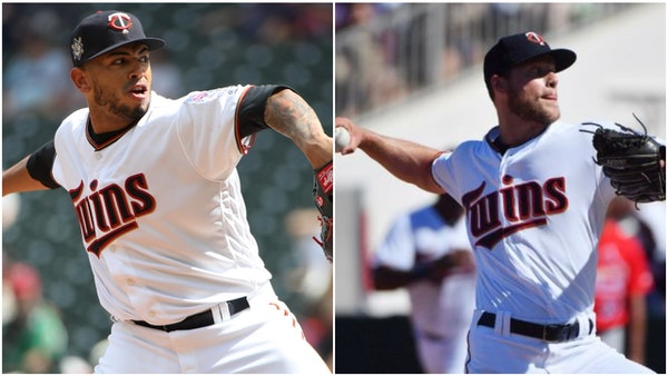 Twins pitchers Fernando Romero (left) and Alan Busenitz