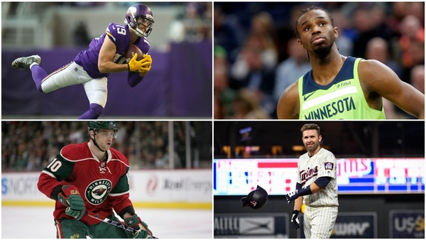 (Clockwise, top right) Timberwolves forward Andrew Wiggins, Twins second baseman Brian Dozier, former Wild wing Marian Gaborik and Vikings receiver Ad