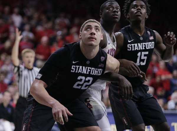 Stanford forward Reid Travis (22) during the second half of an NCAA college basketball game against Arizona, Wednesday, Feb. 8, 2017, in Tucson, Ariz.