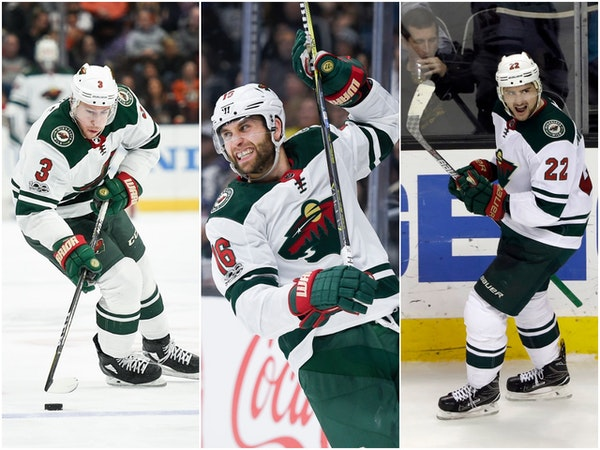 Wild players (left to right) Charlie Coyle, Jason Zucker and Nino Niederreiter are among some of the most likely to be traded as the team explores its