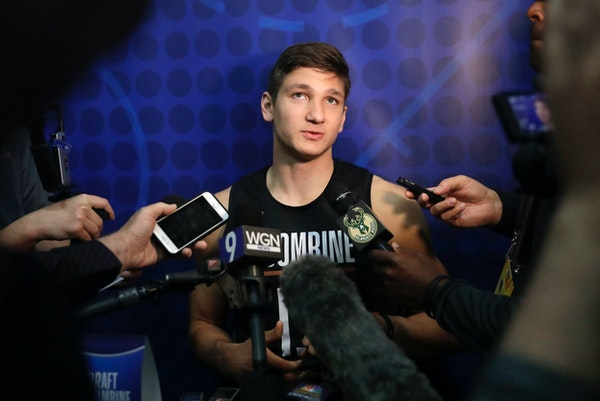 Grayson Allen, from Duke, participates in the NBA draft basketball combine last month in Chicago. Allen is a possibility for the Wolves with the No. 2