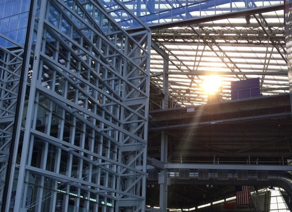 U.S. Bank Stadium's huge swaths of glass have to be covered for the NCAA Final Four in 2019.