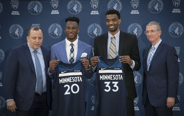 Coach Tom Thibodeau, left, and General Manager Scott Layden, introduced the 2018 Draft Picks Josh Okogie (20th overall), left, and Keita Bates-Diop (4