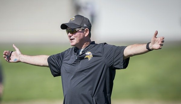 Vikings coach Mike Zimmer took to the field during a mandatory Vikings three-day minicamp at the TCO Performance Center. ELIZABETH FLORES liz.flores@s