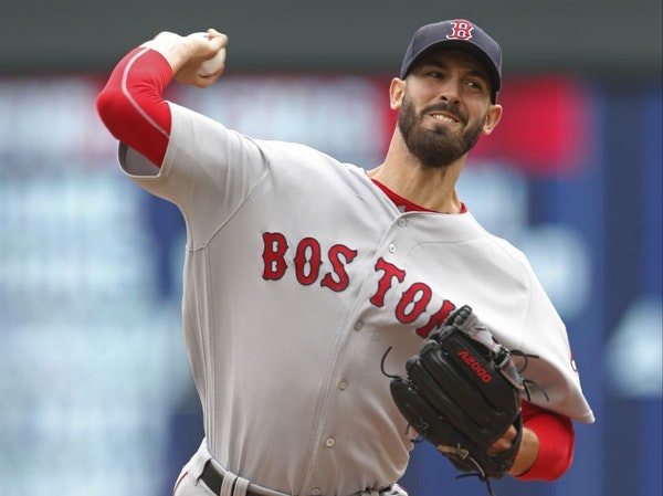 Boston Red Sox' pitcher Rick Porcello throws against the Minnesota Twins in the first inning of a baseball game Thursday, June 21, 2018, in Minneapoli