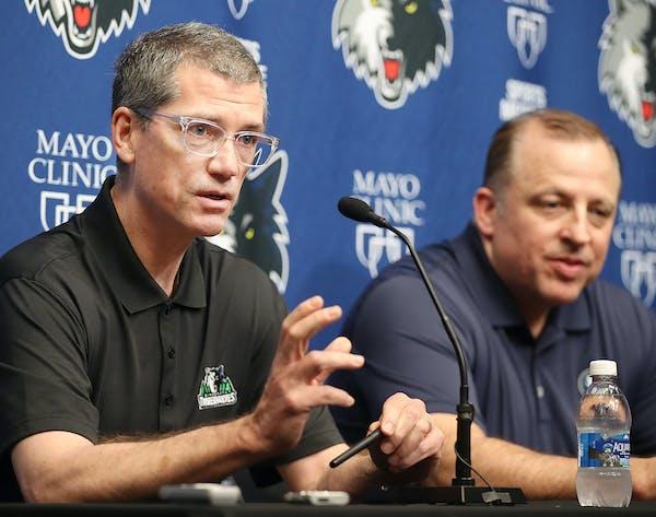Timberwolves GM Scott Layden, left, and coach Tom Thibodeau