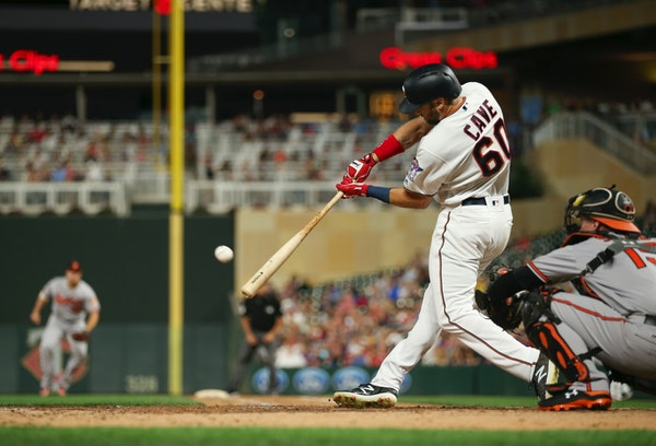 Center fielder Jake Cave contributed an outstanding catch, three hits and a walk to the Twins' slump-breaking victory Thursday night.