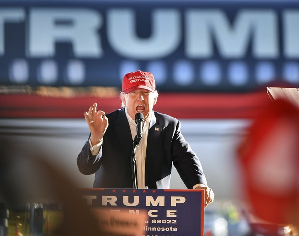 Donald Trump is shown speaking at a Minnesota rally two days before the 2016 election. He is scheduled to make his first Minnesota appearance since th