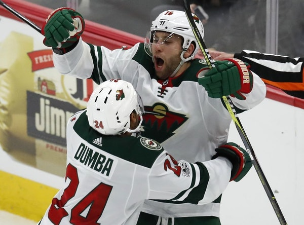 The Wild's Jason Zucker, right, celebrated his goal against the Blackhawks with teammate Matt Dumba last October in Chicago.