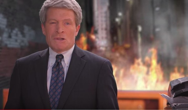 """U.S. Senate candidate Richard Painter appears in his """"dumpster fire"""" ad."""