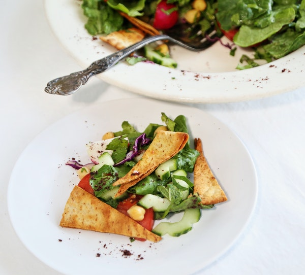 Fattoush Salad With Chickpeas.