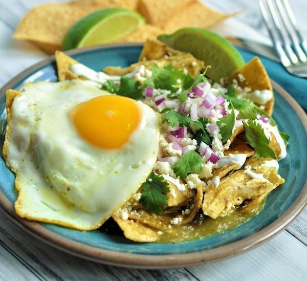 Chicken Chilaquiles Verdes.