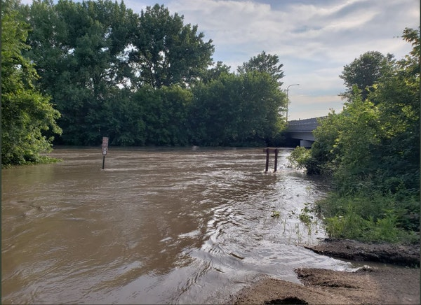 The Cottonwood River in New Ulm. Photo by New Ulm Police Department.